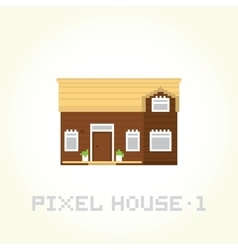 Isolated house in pixel art style 1 vector image