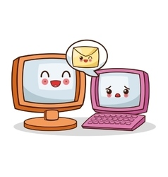 Isolated kawaii computer design vector image