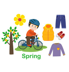 Isolated spring set with boy tree and clothes vector