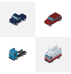 isometric car set of truck first-aid car and vector image
