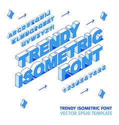 isometric font letters 3d eps vector image