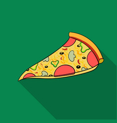 italian pizza icon in flat style isolated on white vector image
