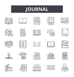 Journal line icons signs set outline vector