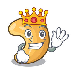 King roasted cashew nuts isolated on mascot vector