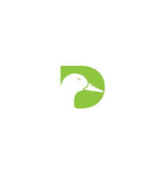 Letter d or initial d for duck bird head logo vector