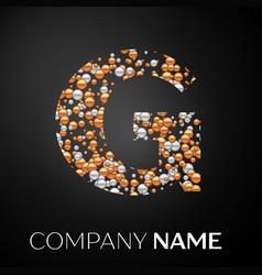 letter g logo gold-silver dots alphabet logotype vector image