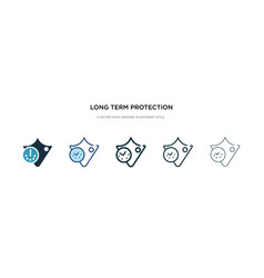 Long term protection icon in different style two vector