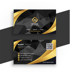 Luxury business card in black and gold colors vector