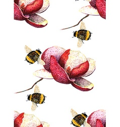 Magnolia and Bee pattern vector