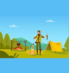 Male hunter with dog stands near campfire and tent vector