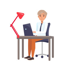 male sitting at workplace and typing on laptop vector image