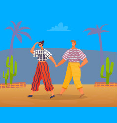 Man and woman on summer vacation walking traveling vector