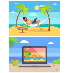 man by seaside collection vector image