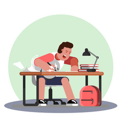 Man hard working and studing vector
