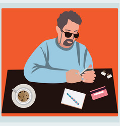 man using mobile smartphone with credit cards for vector image