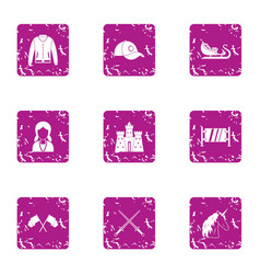 Medieval magic icons set grunge style vector