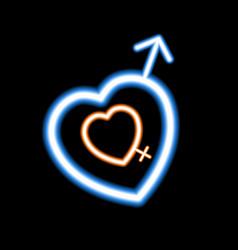 neon heart on a dark background vector image