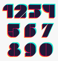 Numbers set with stereo effect vector