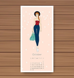 October Hand drawn fashion models calendar 2016 vector