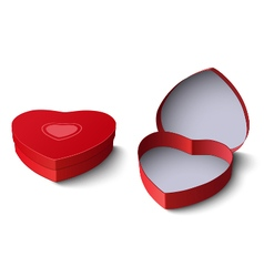 Opened and closed red gift box in shape of heart vector
