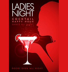 Party ladys cocktail night flyer design template vector