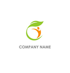 People leaf organic logo vector