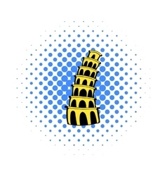 Pisa Tower icon comics style vector