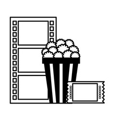 popcorn ticket and reel strip cinema movie vector image