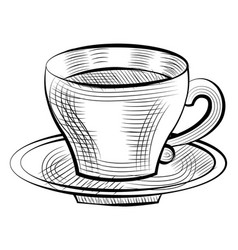 porcelain cup coffee on saucer isolated sketch vector image