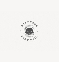 quote typography with hand drawn wolf head symbol vector image