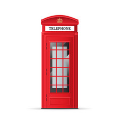 Realistic detailed 3d red london phone booth vector