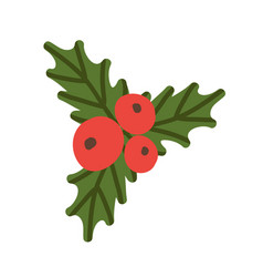 Red berries and green leaves vector