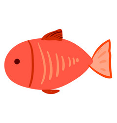 red flat fish on white background vector image