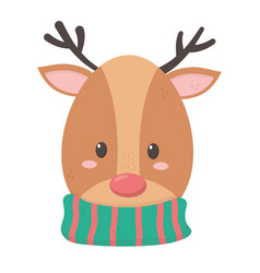 Reindeer with hat merry christmas vector