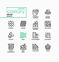 repair services - line design style icons set vector image