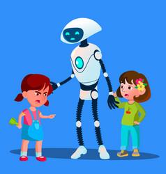 Robot sets apart two girls fighting kids vector