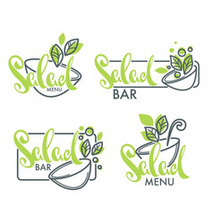 Salad bar and menu logo emblems and symbols vector