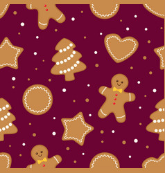seamless gingerbread christmas cookies background vector image