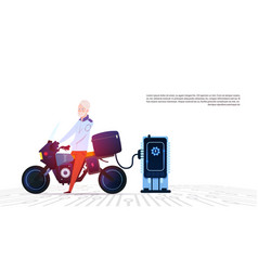 Senior man on motorcycle at electric charging vector