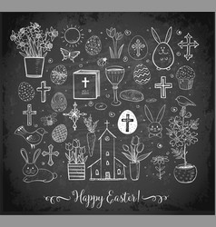 set easter doodles on blackboard background vector image