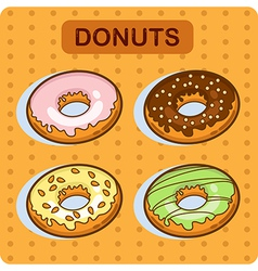 Set of cartoon donuts 1 vector