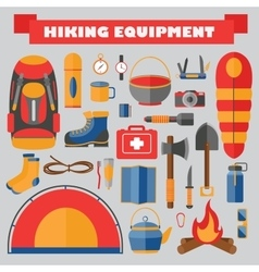 set of hiking and camping equipment vector image