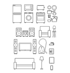 Set outline icons of household appliances vector
