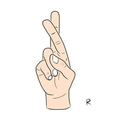 Sign language and the alphabetThe Letter r vector