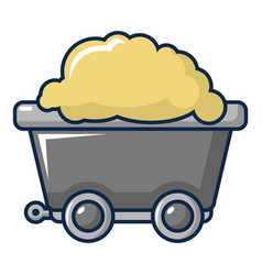 Small coal trolley icon cartoon style vector