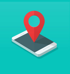 smartphone with map pin pointer vector image