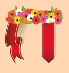 Spring flowers ribbon decoration desig vector