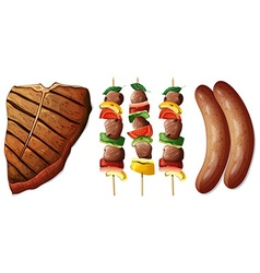 Steak and sausages on white background vector
