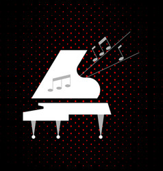 stylized white grand piano on a black background vector image