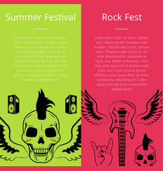 Summer festival rock fest collection posters vector